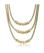 WILLOWBIRD Triple Layered Curved Bar Tribal Necklace for Women in Yellow... - $12.13