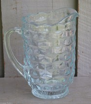 Old Vintage Colony Whitehall Pitcher Stacked Cubed Design Clear Kitchen ... - $29.69