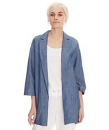 M EILEEN FISHER Light Indigo Blue Cotton Tencel... - £64.04 GBP