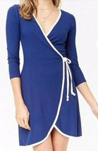 Forever 21 Ribbed Rib 3/4 Sleeve Wrap Dress Navy Blue White Trim M NEW - $11.69