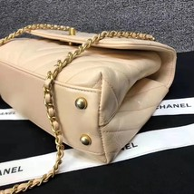 100% AUTHENTIC CHANEL CHEVRON QUILTED CALFSKIN BEIGE SMALL COCO HANDLE BAG GHW image 5