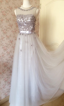GRAY A-line Embroidery Flower Sweetheart Tulle Gray Bridesmaid Wedding Dresses image 7