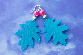 Handmade Hot Pink and Teal Oak Leaf Earrings, Recycled Shampoo Bottle Ea... - $5.94