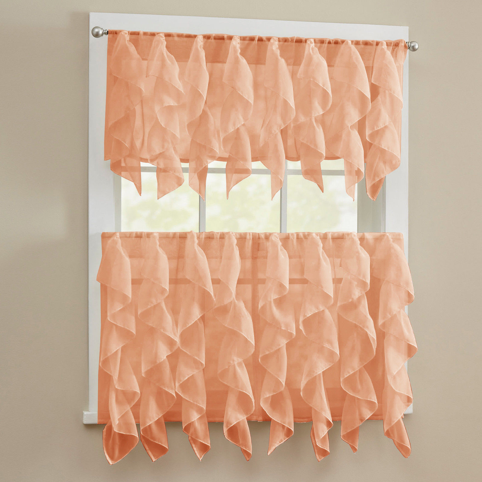 Primary image for Sheer Voile Vertical Ruffle Kitchen Window Curtain Tiers or Valance - Spice