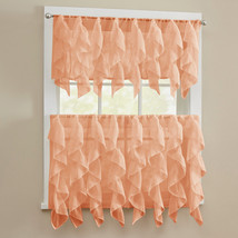 Sheer Voile Vertical Ruffle Kitchen Window Curtain Tiers or Valance - Spice - $11.59+