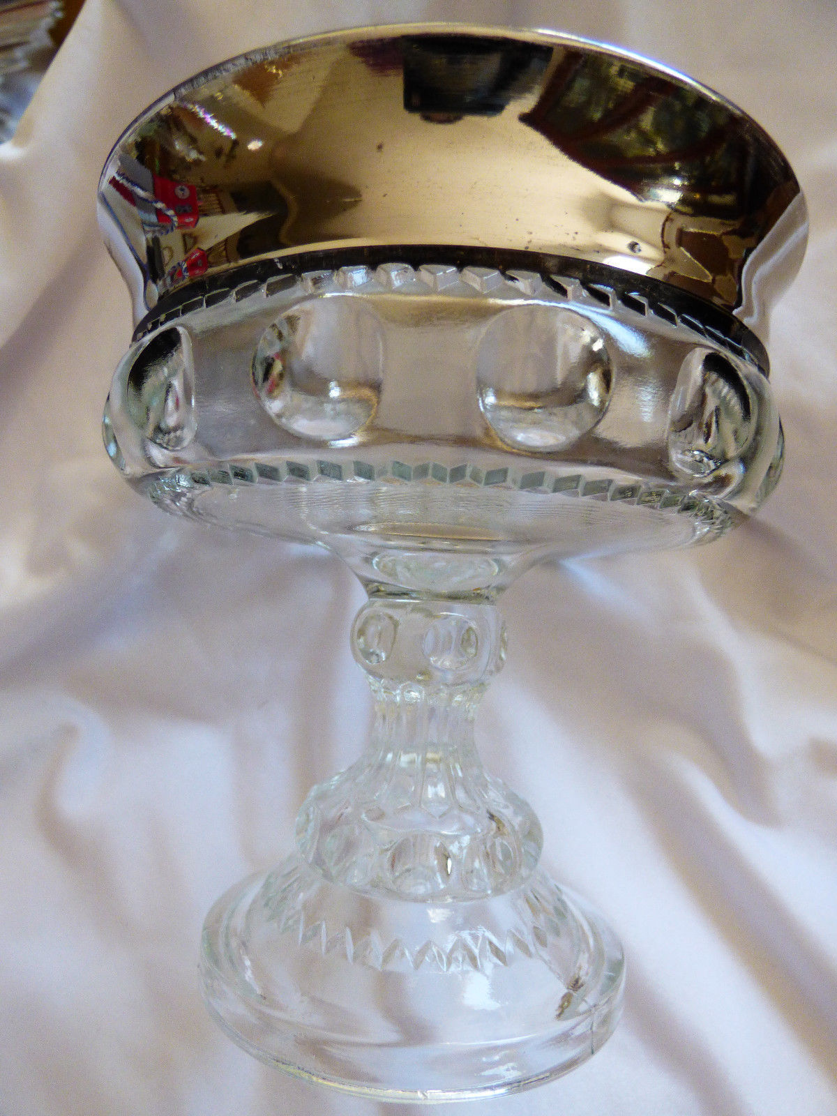 VTG Indiana glass Kings Crown Silve Flash Thumbprint Pedestal Compote Candy Bowl