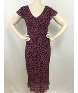 Womens Maxi Dress Size Medium Pink Black Beaded Paradise NY Rayon New - $29.99