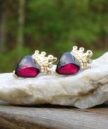 Rare Vintage Trifari TM Red Cabochon Heart w Rhinestone Crown Dangle Ear... - $575.00