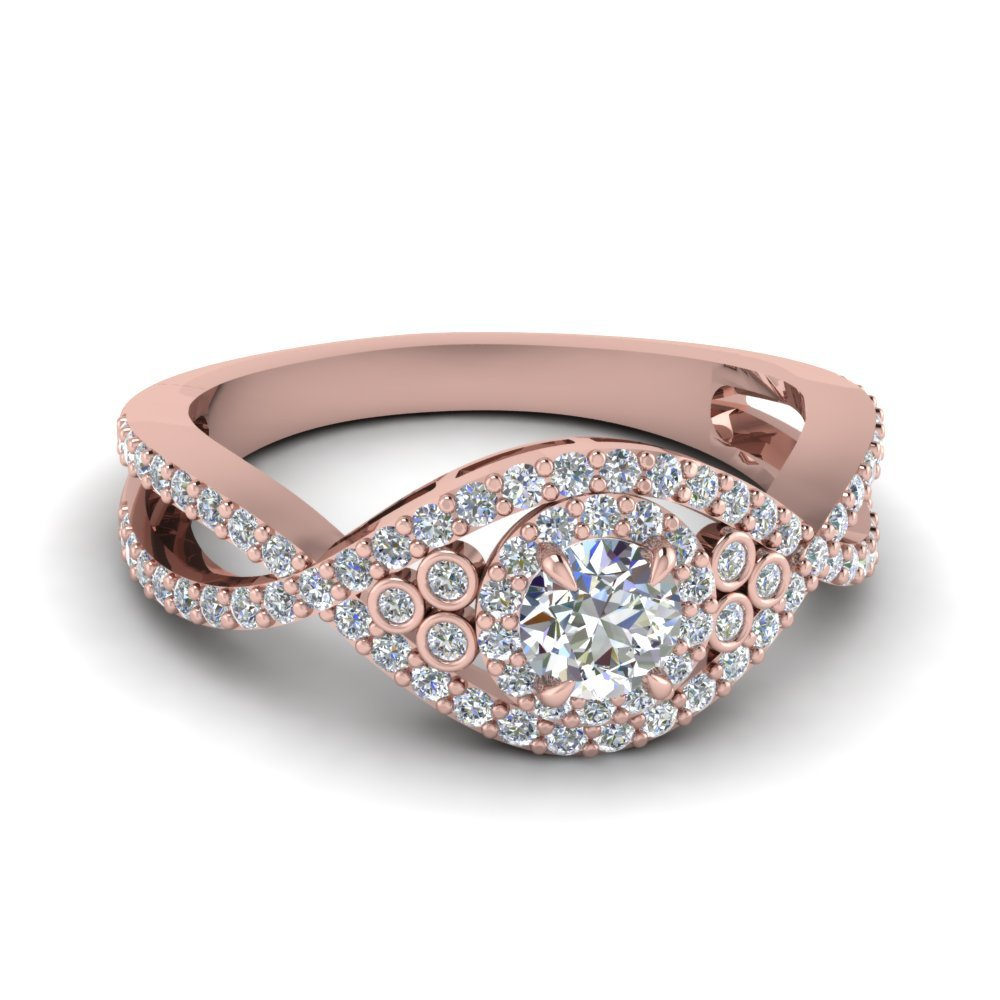 Primary image for Infinity Style Wedding Ring Round Cut White CZ 14k Rose Gold Plated 925 Silver