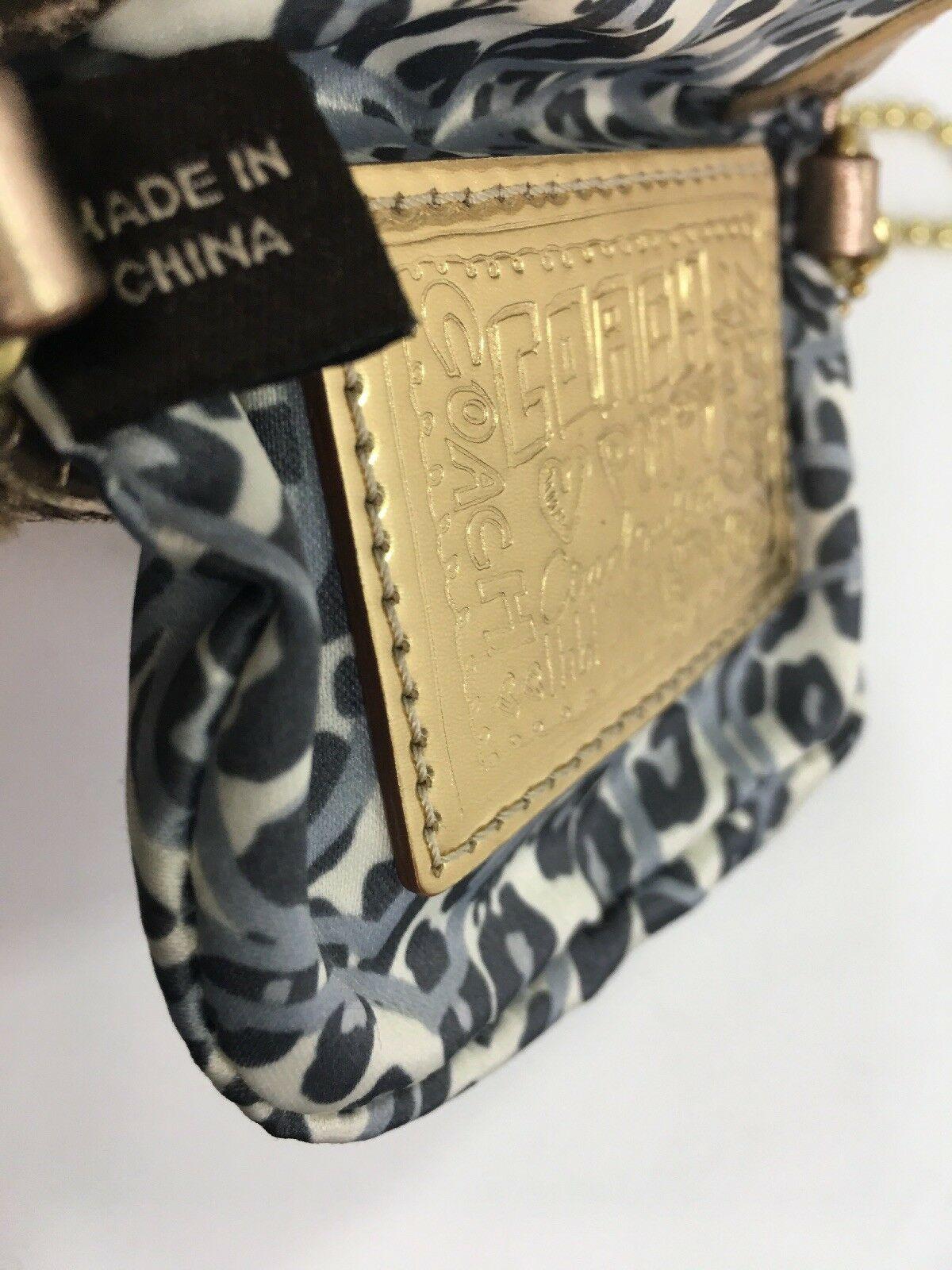 Coach Bag Evening Poppy Gold Sequin Crossbody Leather Chain 43292 Gold B2E