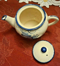 Vintage Japan Embossed Cobalt Blue w Sailboat Teapot, Hand Painted image 3