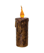 "Burnt Mustard Dripped Flicker Pillar - 6.5"" Candle Floral Displays Heart... - $23.75"