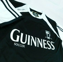 Guinness Beer Soccer Black White Jersey T Shirt Dublin Ireland 1759 Sz L - $27.99