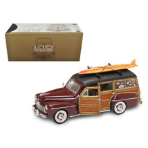 1948 Ford Woody With Wood And Surfboard Burgundy 1/18 Diecast Model Car by Road  - $114.93