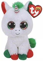 "Ty Beanie Boos Large 16"" Christmas Candy Cane Unicorn Plush Brand New Mint Tags - $49.49"