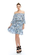 Flirty Off-Shoulder Boho Blue Feather Print Chiffon Party Dress, S, M or L - $34.99