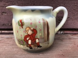 Victorian German Porcelain Creamer Child Christmas Wreath - Buster Brown ? - $19.75