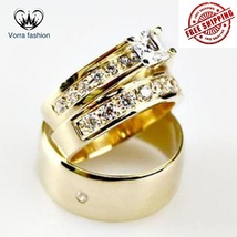 Yellow Gold Princess Cut CZ Trio His/Her Solitaire Band Bridal Wedding Ring Set - $157.99