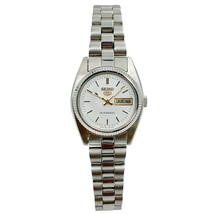 Seiko 5 Automatic Silver Dial Day Date Stainless Steel Ladies Watch - $129.00