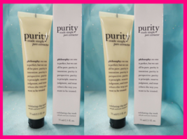 2 PHILOSOPHY PURITY Made Simple PORE EXTRACTOR Exfoliating Clay Mask 2.5... - $21.61