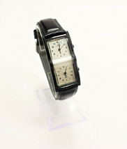 Cenere Ladies Dual Time Watch Black Leather 1990's Vintage New - $49.95