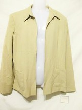 SAG HARBOR Women's Stretch Blazer/Jacket Sz 18 Beige No Buttons Lined Of... - $18.00