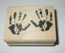 Baby Hands Rubber Stamps Hand Prints All Night Media Wood Mounted - $6.30