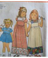 Simplicity 7199 Vintage 70s Girls 2 High Waist  Dress Patt - $8.95