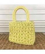 Vintage 1960s 1970s Mod Yellow Raffia Straw Handbag Purse Woven Double H... - $24.95