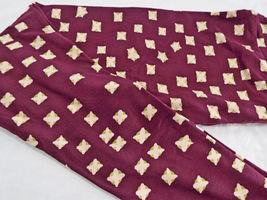 Womens LuLaRoe OS One Size Leggings Dark Maroon Green Pink  NEW image 4