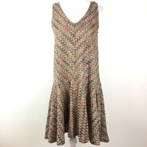 Maeve Anthropologie Small Westwater Knit Dress Peach Pink Drop Waist Che... - $46.50