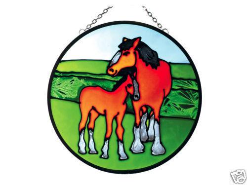"7"" Large Stained Art Glass Horse & Colt Window Suncatcher"