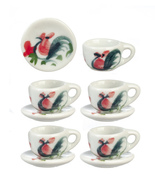DOLLHOUSE MINIATURES 10PC CERAMIC CUPS AND SAUCERS SET #G7567 - $12.50