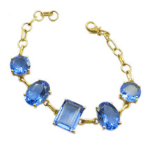 ideal Blue Shappire CZ Gold Plated Blue Bracelet Natural india US gift - $24.74