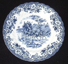 COACHING SCENE 6 1/4 Bread or Dessert Blue Plate~JOHNSON BROS Excellent - $5.99