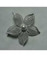 LOVELY VINTAGE SARAH COVENTRY SILVER TONE FAUX PEARL STARFLOWER STARFISH... - $22.50