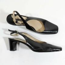 Liz Claiborne Alessandra Size 7.5 M Tira Trasera Zapatos Negros de Piel 6.3cm - $24.75
