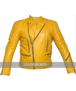 NWT Quilted Yellow Biker Motorcycle Men Womens Unisex Genuine Leather Ja... - $179.99