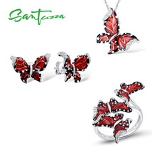 SANTUZZA Red Butterfly Jewelry Set For Woman White CZ Ring Earrings Pend... - $41.69