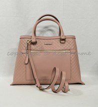 Gucci Micro Guccissima Medium Top Handle Tote with Detachable Strap in Rose Pink - $1,349.00