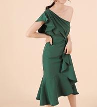 Women Dark Green One Shoulder Midi Dress Green Wedding Bridesmaid Chiffon Dress  image 2
