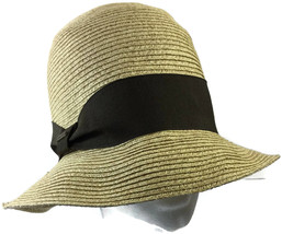Nine West Up Brim Cloche Hat Neutral Packable Natural One Size Beach Str... - ₨1,216.97 INR