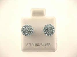 Beautifull Sparkleing Silver Ball Errings With Light Blue Cz Stones - $16.17