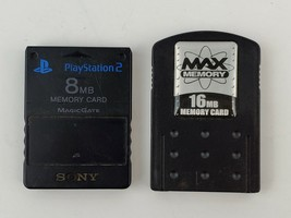 Sony Playstation PS2  OEM black memory card 8MB and 16MB Max Memory PS1 PS2 - $16.01 CAD