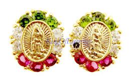 14k Gold Earrings Guadalupe CZ Screw Back  101-45 ON SALE - $40.66