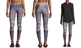 Terez Women's Printed Performance Leggings, Skull-Lace-937