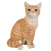 Animal Collection Life Size Orange Tabby Cat Figurine Statue 12 inches Tall - $49.49