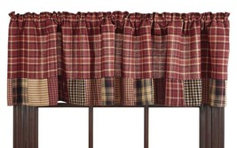 Olivia's Heartland country primitive rustic red plaid Rutherford VALANCE... - $26.95