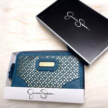 Nwt New Jessica Simpson Womens Fashion Zip Around Wallet Turquoise Gold - $42.05