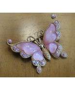 Butterfly Brooch Molded Lucite Wings Aurora Borealis Rhinest - $8.99